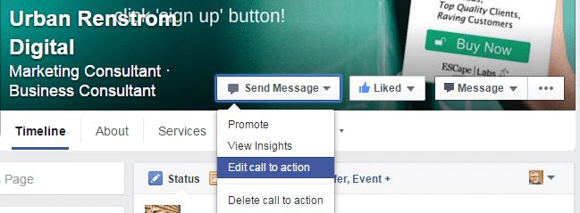 Facebook Page CTA Button Options Access
