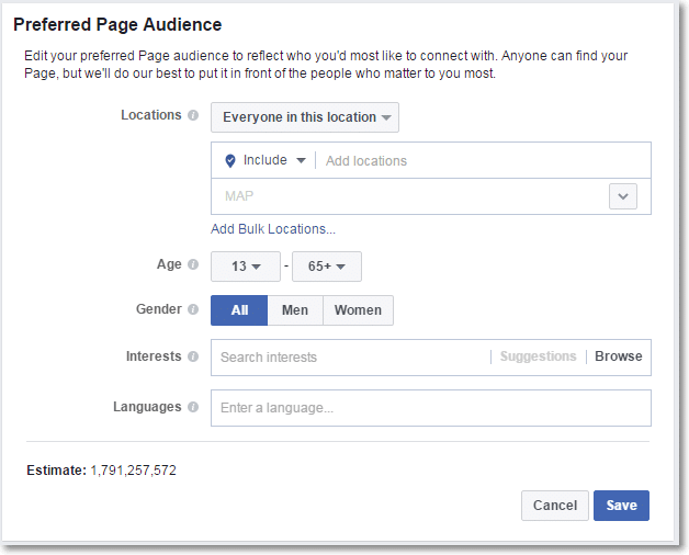 Preferred Page Audience Options