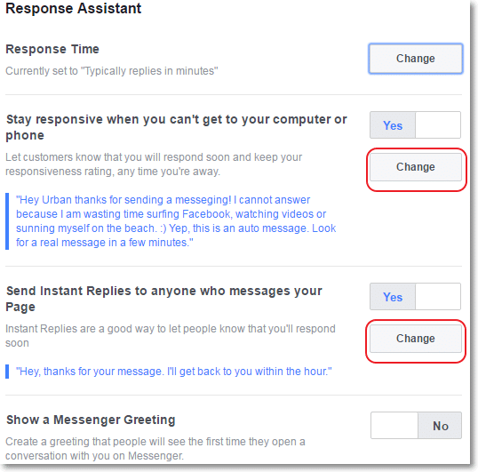 Facebook Page Response assistant