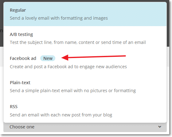 MailChimp Facebook Ads Campaign Types