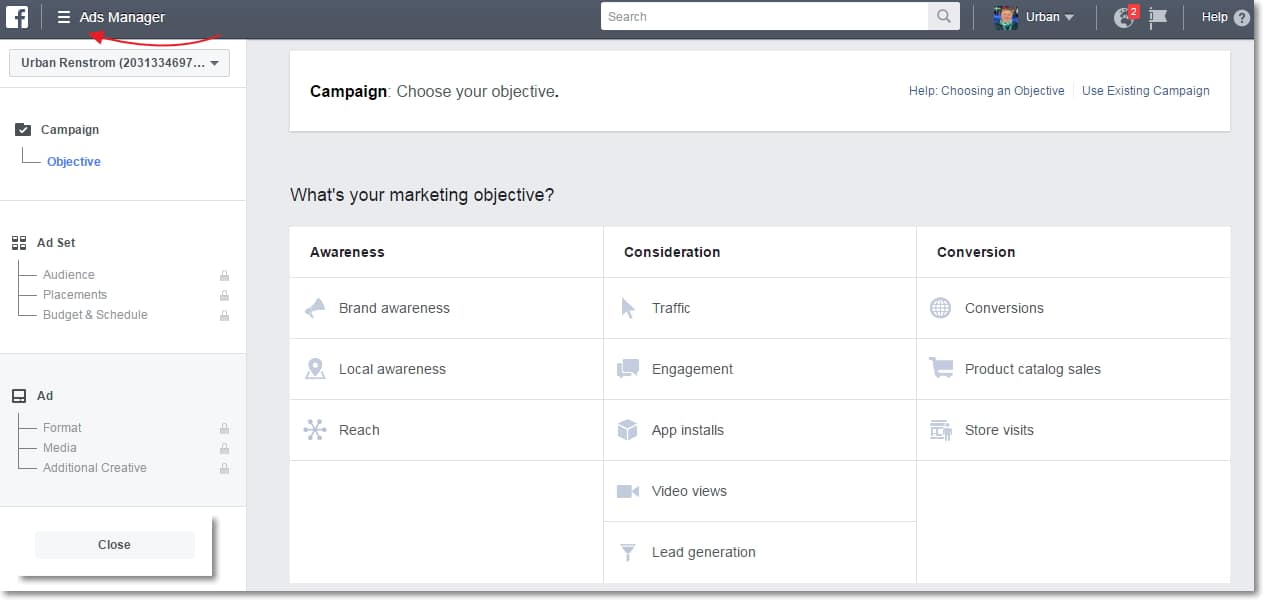 Facebook Ads Manager Home page