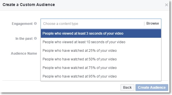 Facebook Ads Manager Video View Custom audience